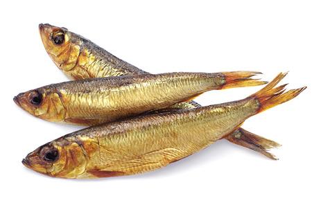 Three smoked fish on white background  Stock Photo