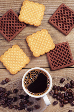 bakery products: Background with coffee and cookies