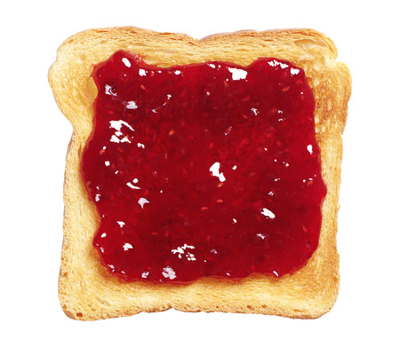 strawberry jam sandwich: Toasted bread with jam isolated on white background