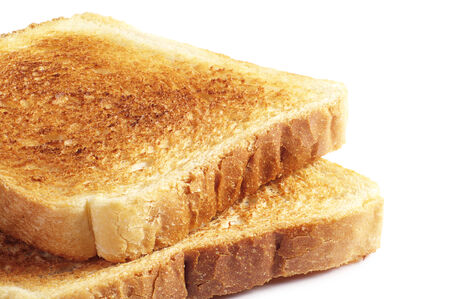 toast bread: Two roasted toast bread on white background closeup