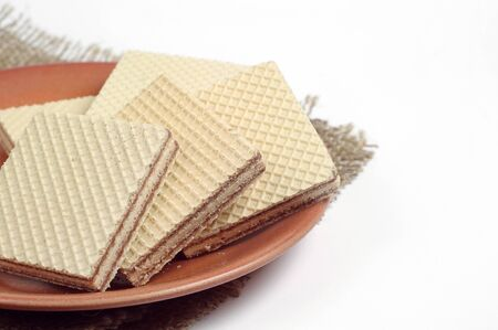 wafers: Plate with wafers on a white background