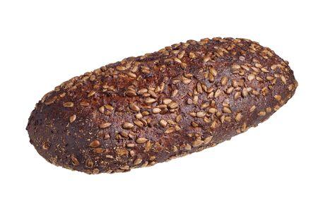 semillas de girasol: Barra de pan con semillas de girasol aislados sobre fondo blanco