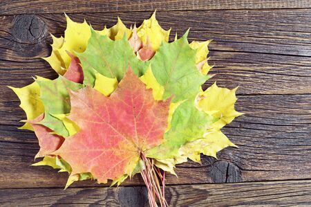 wooden table top view: Autumn leaves on old wooden table, top view