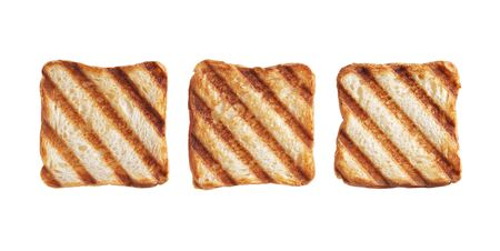 Small grilled toasted bread isolated on white background, top view