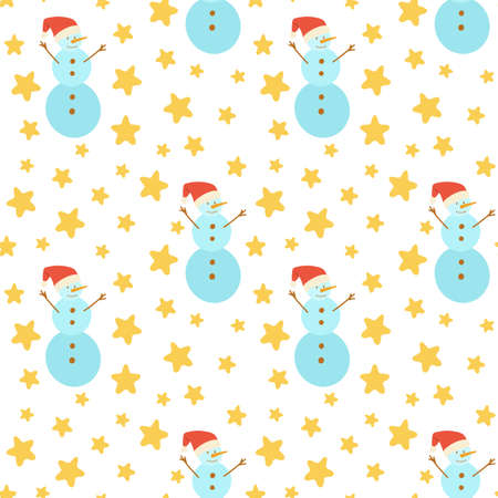 Seamless pattern with a snowman and stars. Christmas, new year. Red cap, nose, carrot, snow ball, twigs. It can be used for fashion design, printing on fabric, notebooks, wrapping paper. Ilustracja