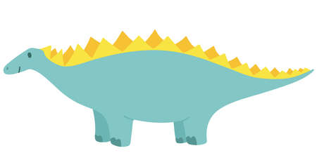 Blue stegosaurus, happy dinosaur with a smile. Isolated. Children's vector illustration. Drawn by hands.