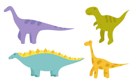 Set of happy dinosaurs with a smile. Isolated objects. Vector illustration for Children. Drawn by hands. It can be used to decorate a children s party, children s clothing, bed linen, notebooks.