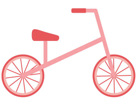 Bike and Run bike and balance bike. A bicycle for children with two wheels, Running with your feet. Isolated object, element. Vector illustration in a flat style. Means of transport. Ilustración de vector
