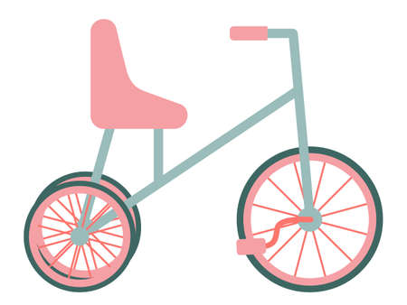 Bike. A bicycle for children with three wheels. Isolated object, element on a white background. Vector illustration in a flat style. Means of transport. Pink and blue.