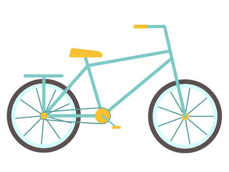 Bike. Bicycle for children and adults with two wheels and a rack and pedals. Isolated object, element on a white background. Vector illustration in a flat style. Means of transport. Yellow and blue. Ilustración de vector