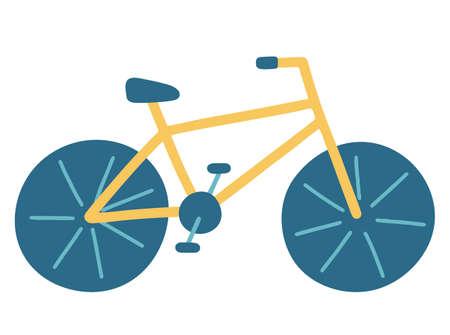 Bike. Bicycle for adults and children with wheels and a rack and pedals. Vector illustration in flat. Isolated sport element on a white background. Means of transport. Yellow and blue