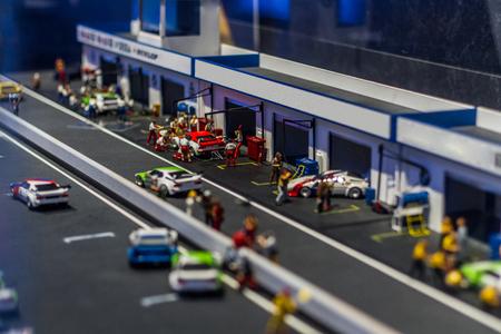 Grand prix pit lane in miniature Stockfoto