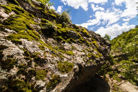 Beautiful view of rhe Hirskiy Tikich river and Buky`s canyon, Buky, Ukraine with high rocks on background 版權商用圖片