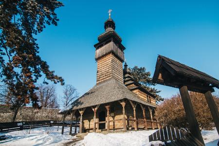 Wooden orthodox traditional church in Uzhgorod, Ukraine
