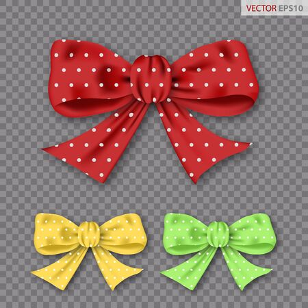 Set of realistic bows with polka dots isolated on transparent background. Vector illustration 일러스트
