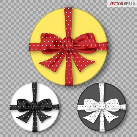 Set of round gift boxes with polka dots bows, isolated on tranparent background. Vector illustration