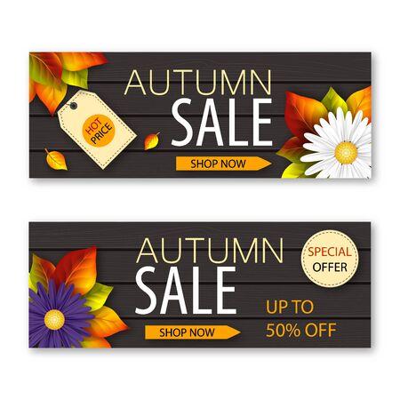 Set herfst verkoop banners met realistische bloemen en herfstbladeren op donkere houten achtergrond. vector illustratie