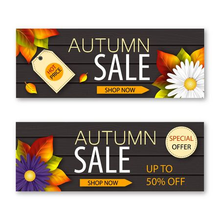 Set of autumn sale banners with realistic flowers and fall leaves on dark wooden background. Vector illustration