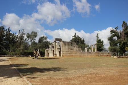 synagogue: Ancient Baram synagogue in Israel Stock Photo
