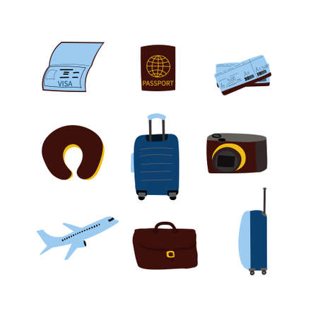 Travel set objects in hand drawn style. 向量圖像