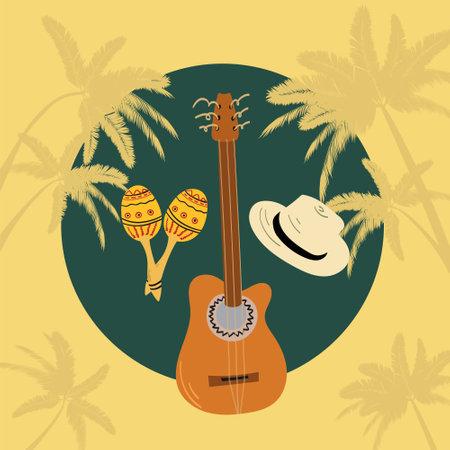 Hand drawn illustration of guitar - cuban tres, hat and maracas. Tropical vibe vacation concept. Illusztráció