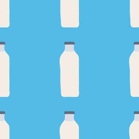 Seamless pattern of milk bottles in hand drawn doodle line style. vector illustration on blue background.