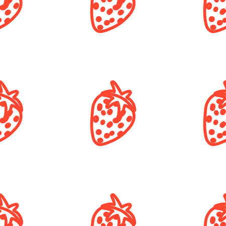 Hand drawn vector illustration of strawberry in abstract doodle style. Seamless pattern for wall paper, textile, fabrics, wrapping paper and endless background