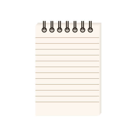 Flat vector illustration of spiral notepad with lines with space for text. Isolated on white background.