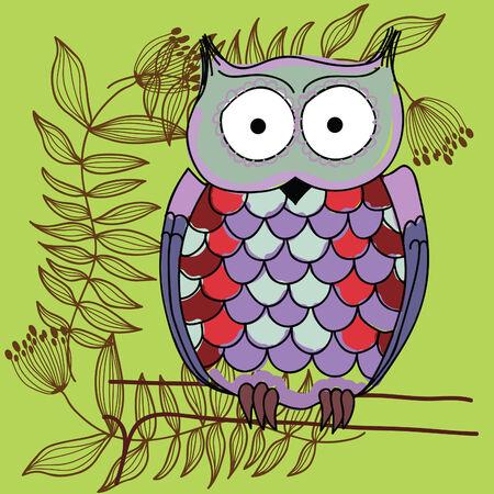 Funny owl cartoon Stock Vector - 8139953