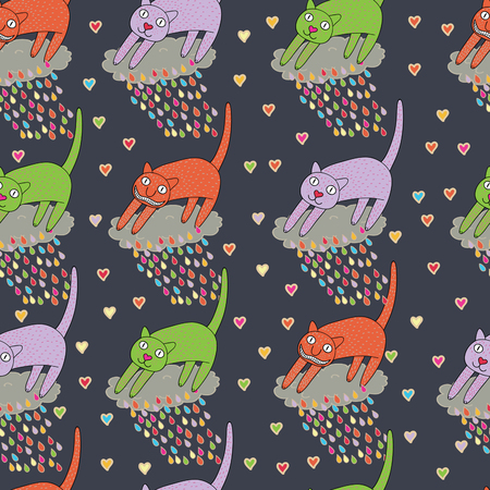 seamless pattern with cartoon cats  Stock Vector - 8814378