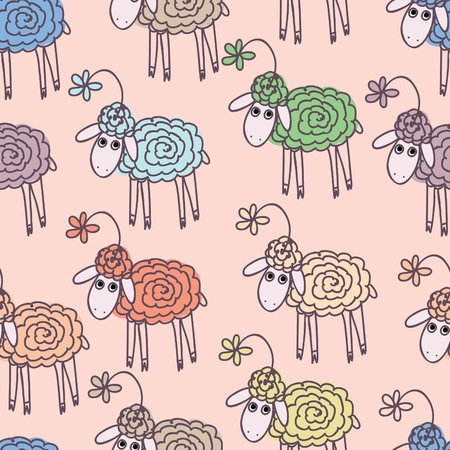 pasen schaap: Background with funny sheep  Stock Illustratie