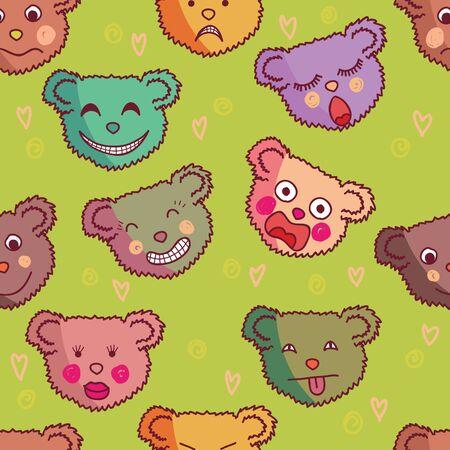Cartoon seamless pattern made of funny bears Stock Vector - 9294141