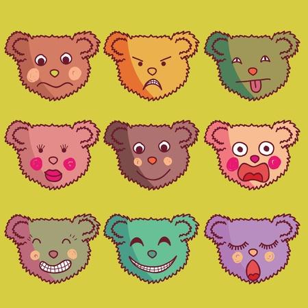 cool set of bears cartoon individuals.  Vector