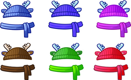 Knitted hats with deer horn Vector