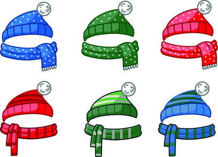 scarves: Knitted hats with scarves Illustration