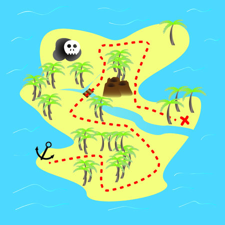hideout: Parchment with treasure map 1 - vector illustration. Illustration