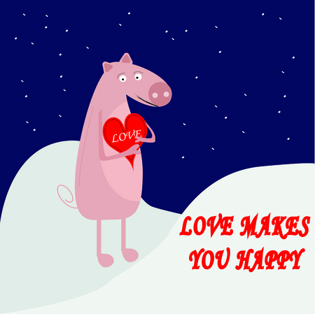 captivated: Cute pig hugging red heart under falling snowflakes Illustration