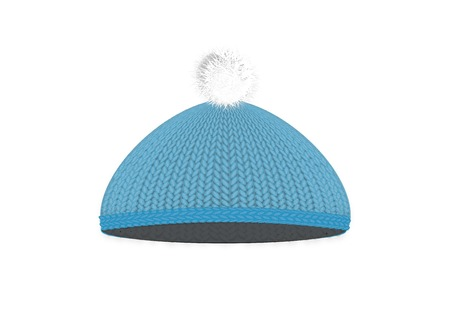 pompon: Knitted blue cap with pompon