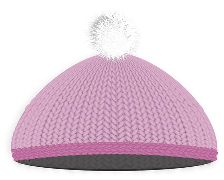 pompon: Knitted red cap with pompon