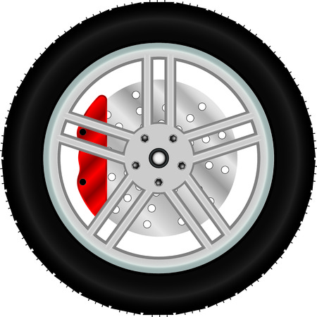 alloy wheel: Car wheel with brake disc