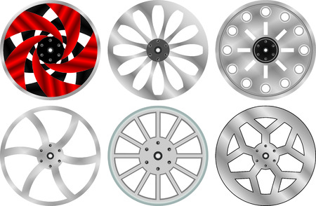 low tire: Car alloy wheels Illustration
