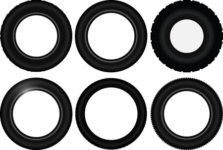 treads: Black car tyre selection with different treads and patterns Illustration