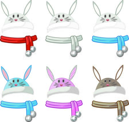 scarves: Winter rabbit hat with ears and scarves Illustration