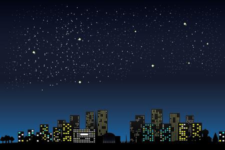Night city lights Stock Illustratie