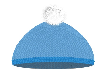 ski wear: Knitted woolen cap with pompon Illustration