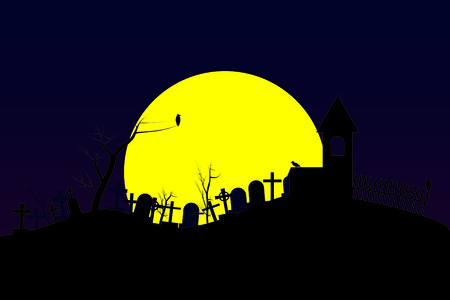 Night cemetery with big moon. Headstones and crosses. Vector