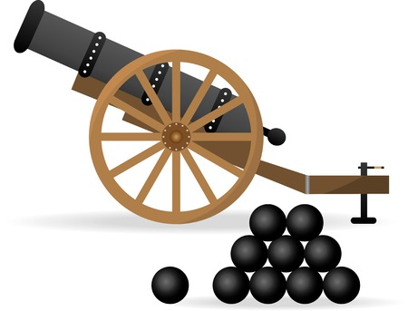 Ancient cannon with cannon balls