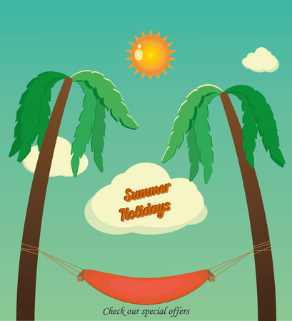 Holidays with palms and hammock Vector