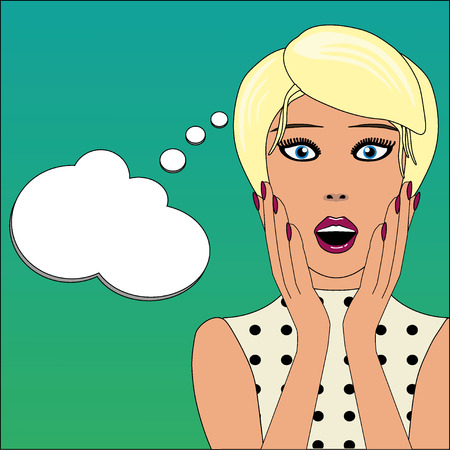 Surprised woman face with open mouth and message bubble Vector