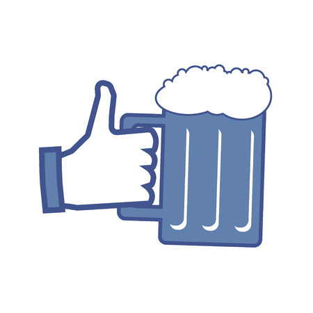 like button: Thumbs Up like symbol icon with beer glass Illustration
